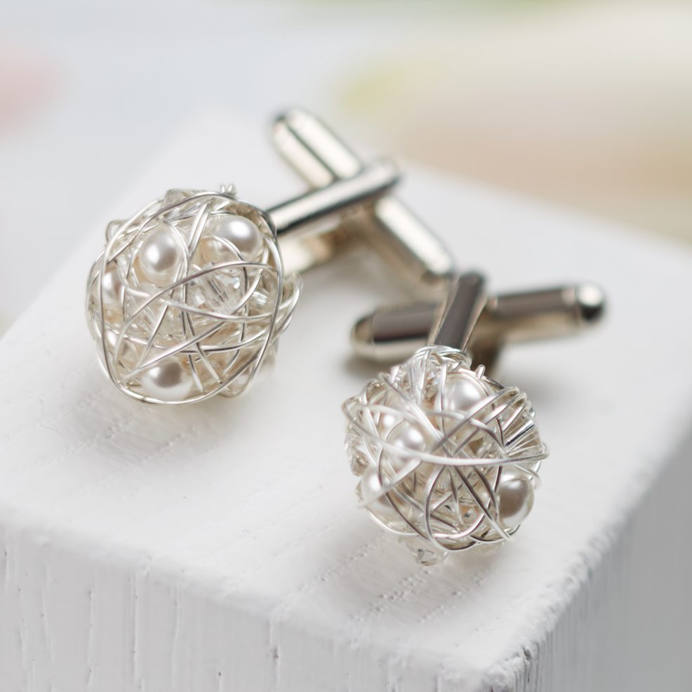 Twisted Swarovski Wedding Cufflinks