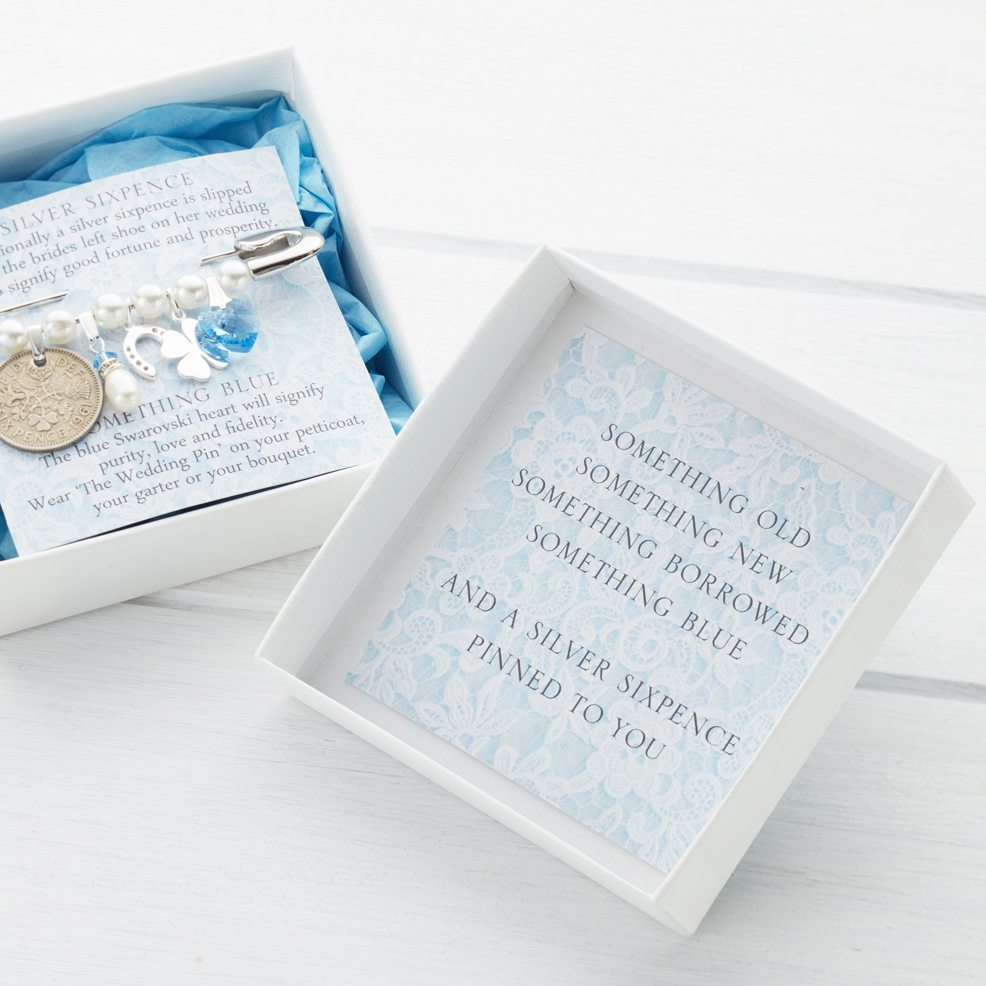 The Wedding Pin Silver Sixpence Bridal Gift Something Blue