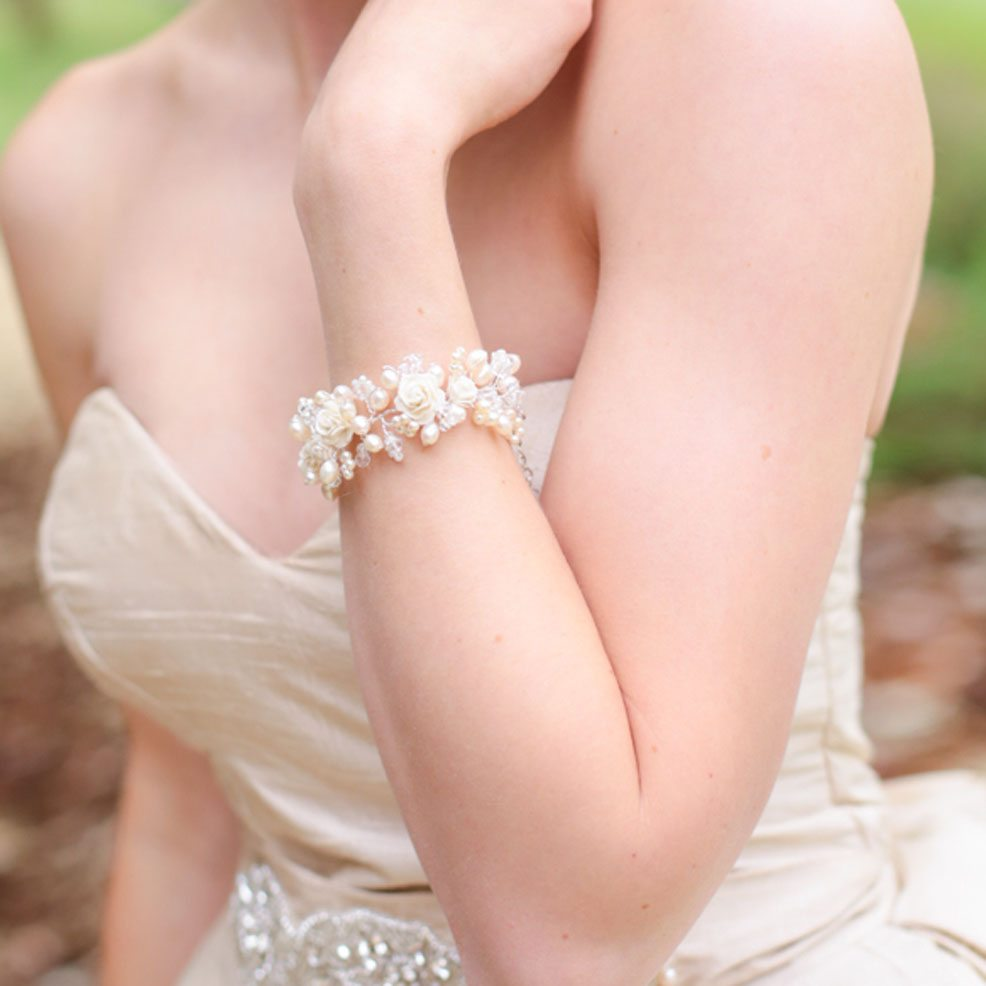Rose Cuff Bracelet - ivory wedding bracelet with roses.