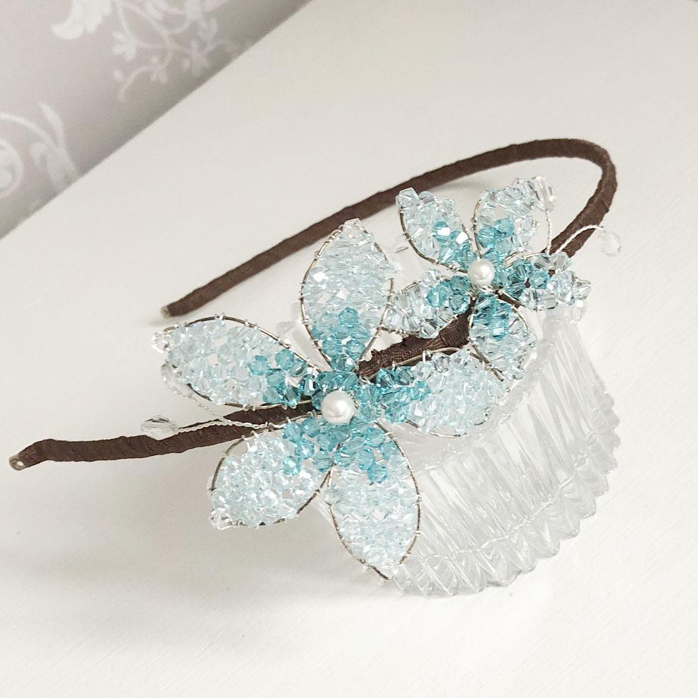 Aqua Wedding Headpiece - ex-sample sale wedding tiara.