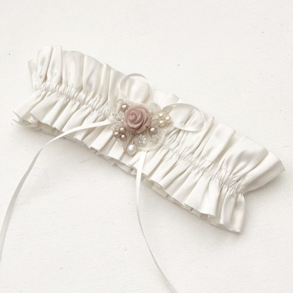 Flora Rose Garter silk garter with blush pink