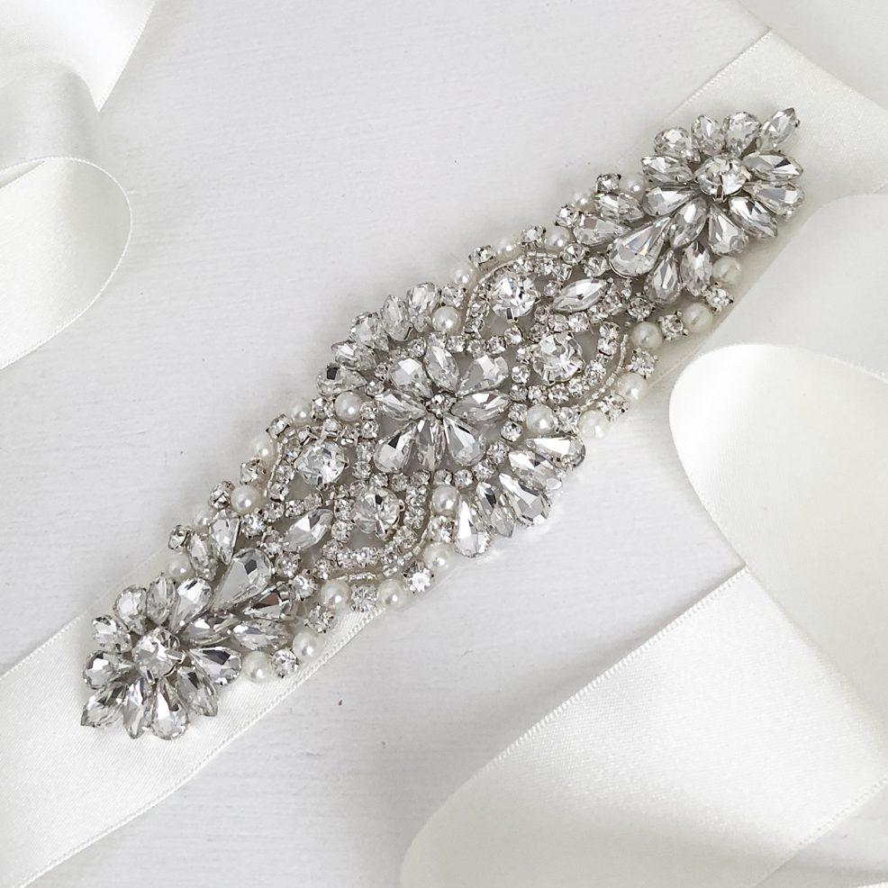 katie wedding belt sash close up on table