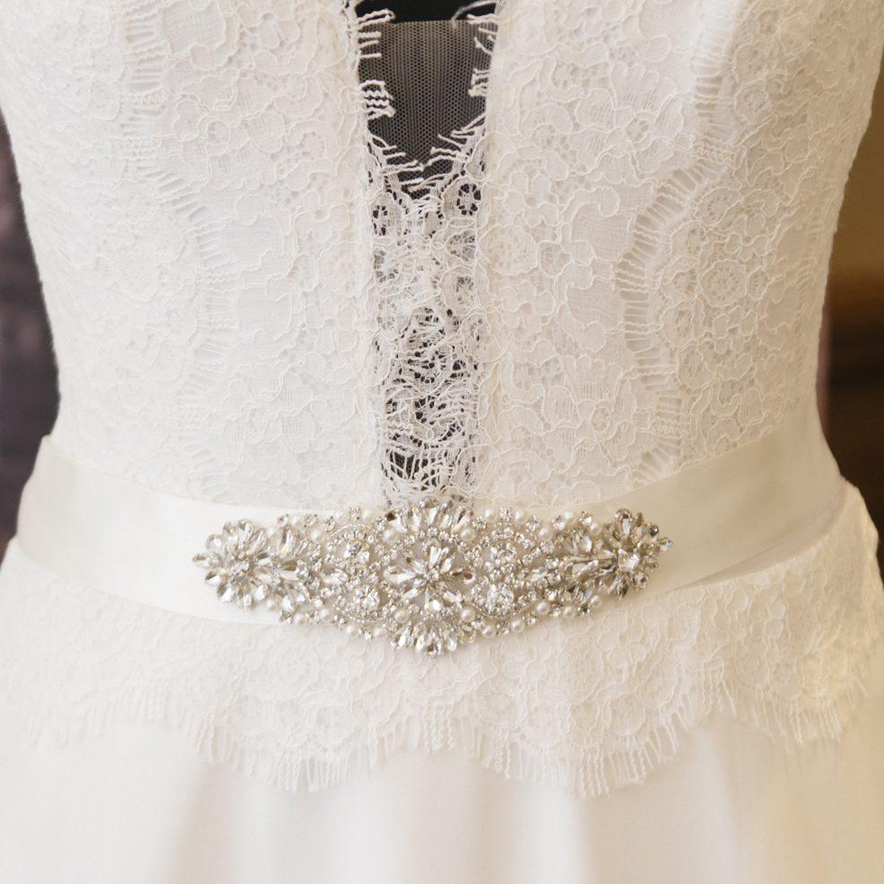 katie wedding belt sash diamante embellishement on mannequin
