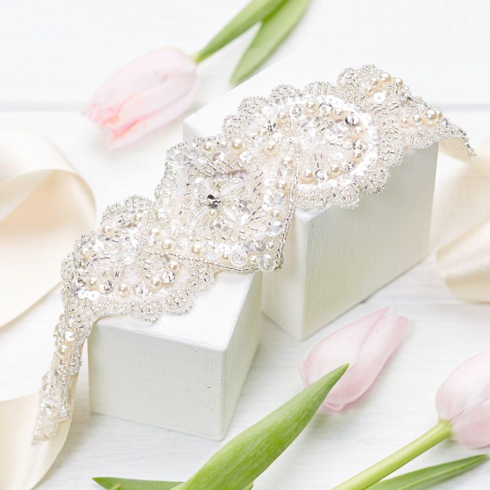 Tabitha Wedding Belt Sash Pearl Crystal