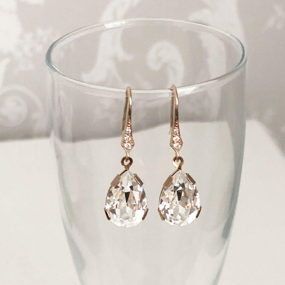 Victoria rose gold Swarovski crystal earrings