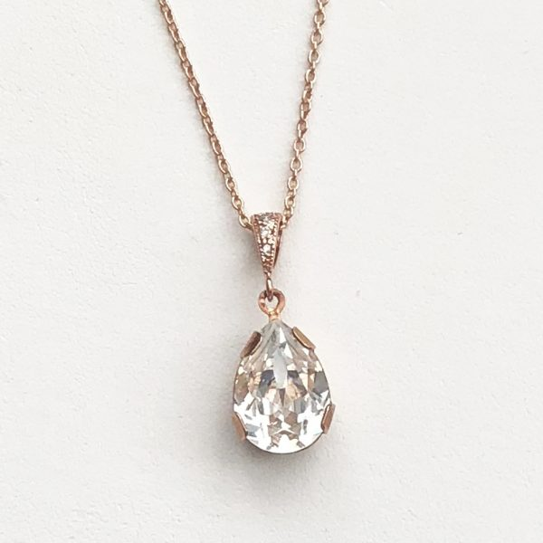 Victoria Rose Gold Necklace teardrop crystal