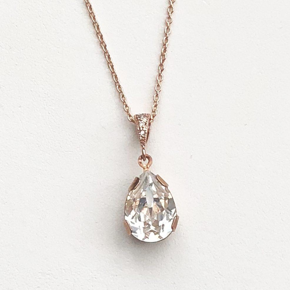 Victoria Rose Gold Necklace teardrop crystal