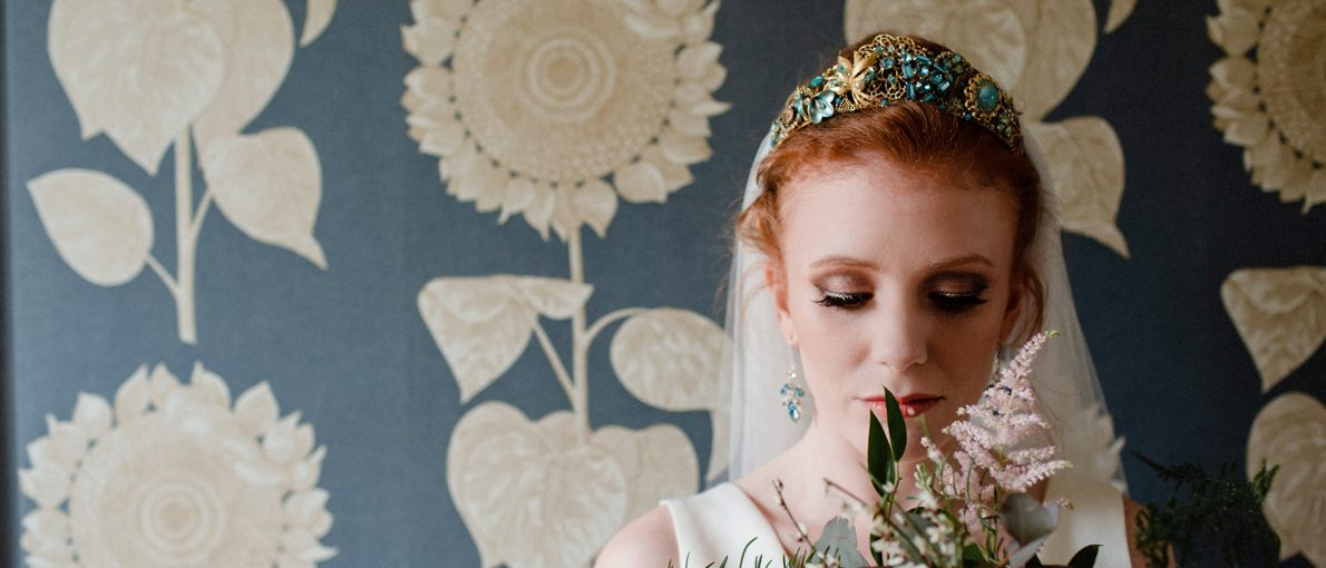 Aqua Blue and Gold vintage style tiara