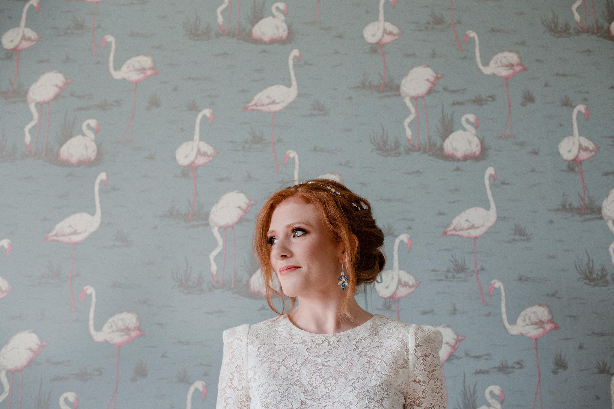 Red haired bride wearing Swarovski Crystal Hair Vine and Blue Crystal Earrings