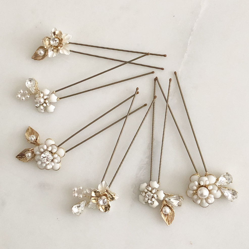 Alyssa Flower Hair Pins Set Of 6 Flower Wedding Hair Pins